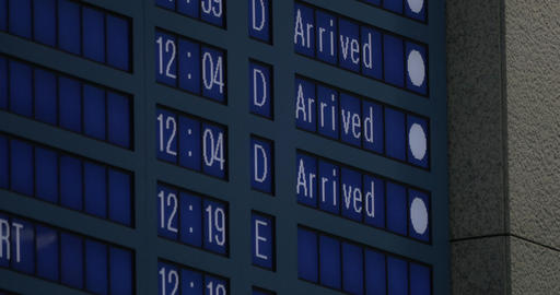Flight schedule with information of planes arrived Live Action
