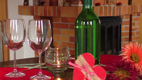 Wine on table. Valentine's day celebration concept Footage