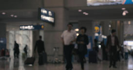 People and air crew in airport hall Footage