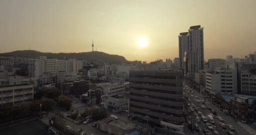 Evening cityscape of Seoul, South Korea Live Action