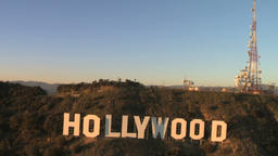 Famous Hollywood Sign Aerial View Live Action