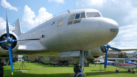 White old plane on exhibition in open-air museum Live Action