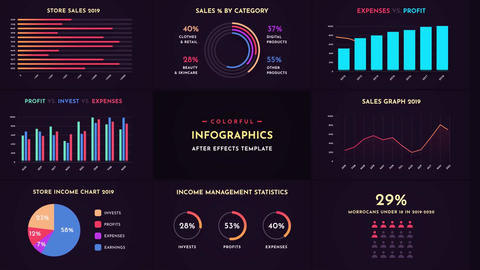 Colorful Infographics After-Effects Template After Effects Template