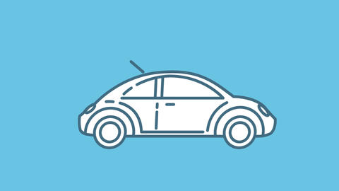 Volkswagen Beetle line icon on the Alpha Channel Animation