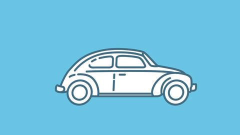 Volkswagen Beetle 1200 line icon on the Alpha Channel Animation