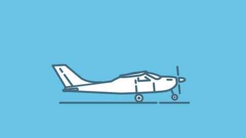 Cessna 150 line icon on the Alpha Channel Animation
