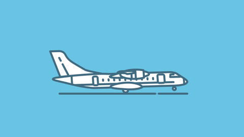 ATR 72 line icon on the Alpha Channel Animation
