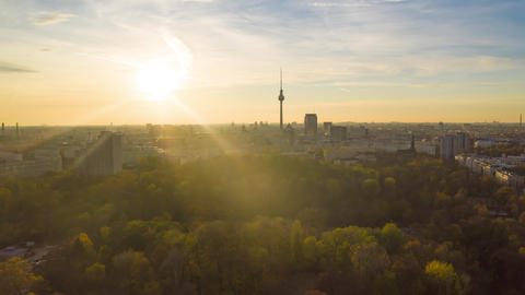 Scenic Hyper Lapse fast moving Time Lapse above Cityscape with Nature and Live Action