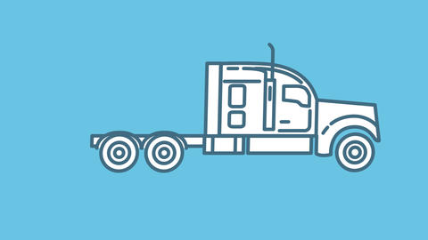 Tractor Unit line icon on the Alpha Channel Animation