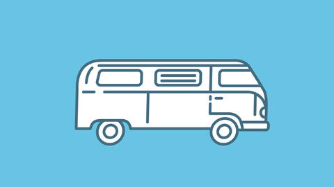 Volkswagen T1 line icon on the Alpha Channel Animation