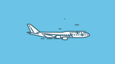 Boeing 747-400 line icon on the Alpha Channel Animation