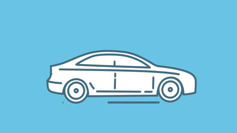 Sedan line icon on the Alpha Channel Animation