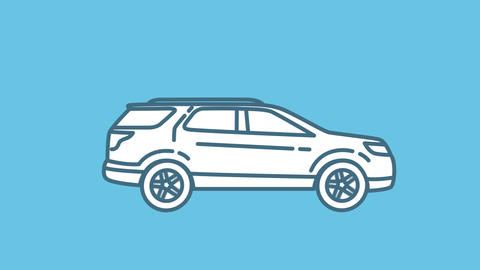 SUV line icon on the Alpha Channel Animation