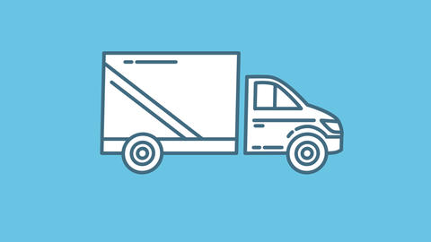 Truck line icon on the Alpha Channel Animation