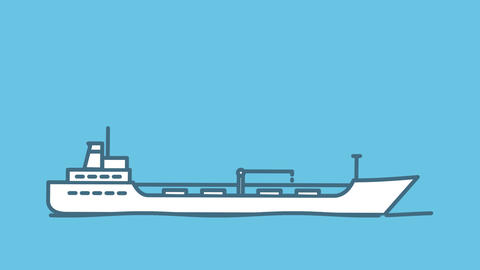 Oil Tanker line icon on the Alpha Channel Animation