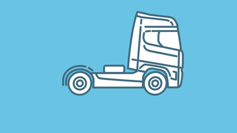 Truck Tractor Unit line icon on the Alpha Channel Animation