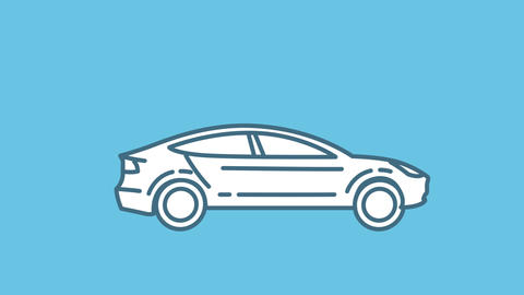 Tesla Model S line icon on the Alpha Channel Animation