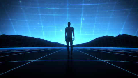 3D Man walking in a Cyberspace Landscape Loop SynthWave Background Animation