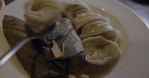 Dumplings and stuffed grape leaves Footage