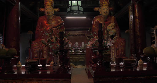 Statues in the Temple of Confucius. Hanoi, Vietnam Footage