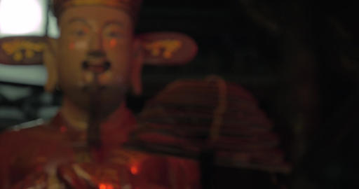 Statue and incense in the Temple of Confucius. Hanoi, Vietnam Footage