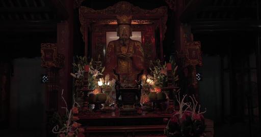 Statue of medieval Vietnamese Emperor in Pagoda. Hanoi, Vietnam Footage