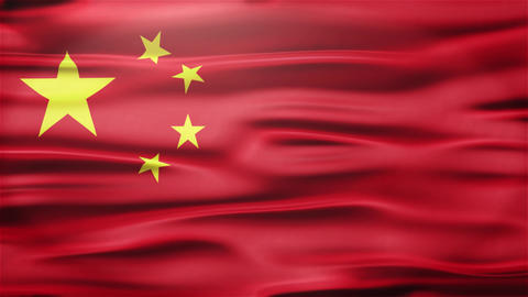 Realistic Seamless Loop Flag of China Waving In The Wind With Highly Detailed Fa Animation