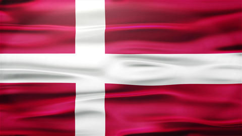 Realistic Seamless Loop Flag of Denmark Waving In The Wind With Highly Detailed  Animation