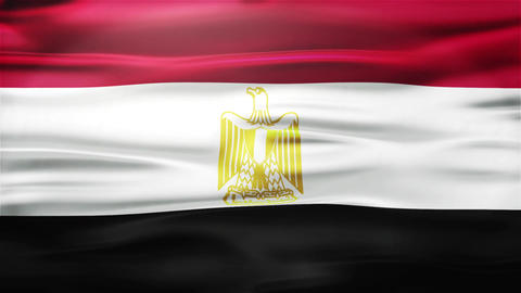 Realistic Seamless Loop Flag of Egypt Waving In The Wind With Highly Detailed Fa Animation