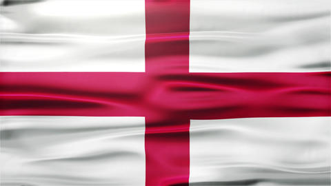 Realistic Seamless Loop Flag of England Waving In The Wind With Highly Detailed  Animation