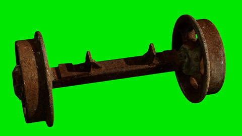 Wheels of train on green chromakey background Live Action