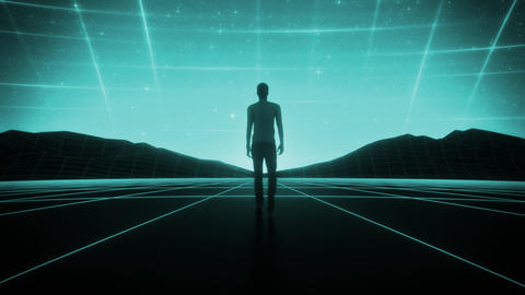 3D Multicolor Man walking in a Cyberspace Landscape Loop SynthWave Background Animation