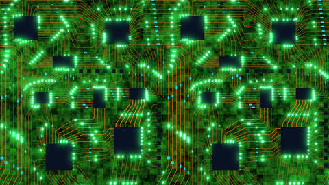 Flight over 3D printed circuit board with pulsating green lights of digital Animation