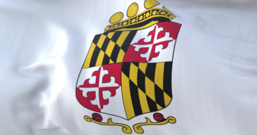 Flag of Anne Arundel county, state of Maryland, United States - loop Animation
