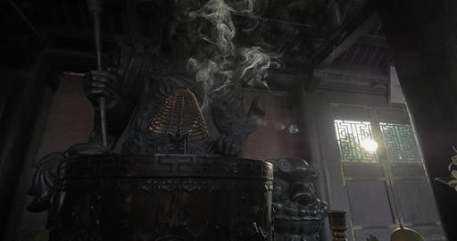 Burning incense and warrior statue in Bai Dinh Temple, Vietnam Footage