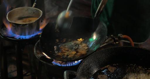 Cooking street food in Bangkok, Thailand Footage