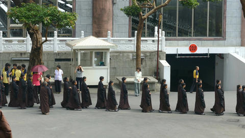 Fo Guang Shan Monastery, monks in a row Footage
