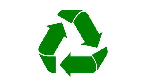 Recycle icon animation with flat green arrows Animation