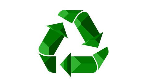 Recycle icon animation with textured green arrows Animation