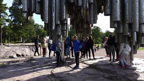 Children discover Sibelius Monument, girl stand up with head in pipe ライブ動画