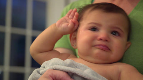 Fussy and tired little girl cries Footage