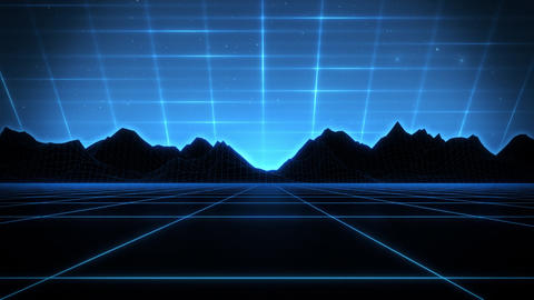 3D Blue Cyberspace Wireframe Landscape Loop SynthWave Background Animation