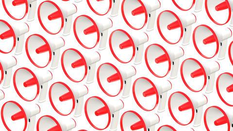 Many megaphones on white background Animation