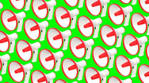 Many megaphones on green chroma key Animation