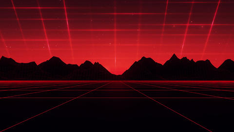 3D Red Cyberspace Wireframe Landscape Loop SynthWave Background Animation