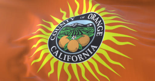 Orange county flag, state of California, United States of America - loop Animation