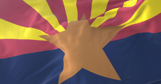 Flag of Arizona state, region of the United States, waving at wind - loop Animation