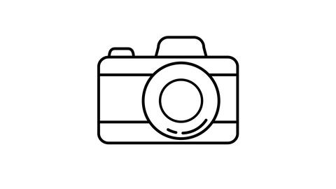 Camera line icon on the Alpha Channel Animation