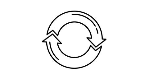 Arrows Circle line icon on the Alpha Channel Animation