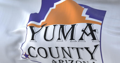 Yuma county flag, state of Arizona, United States of America - loop Animation